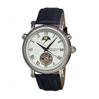 Heritor Men's 'Kornberg White' Black Leather Automatic Watch