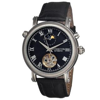 Heritor Men's Kornberg Black Leather Black Analog Watch
