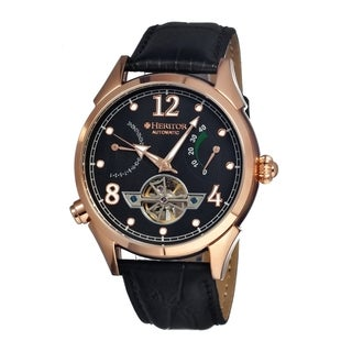 Heritor Men's 'Bragg' Black Leather Analog Watch
