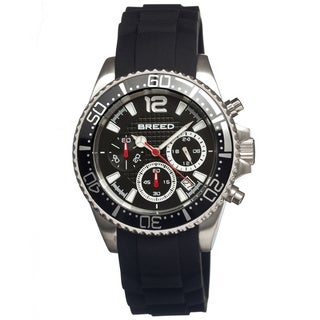 Breed Men's 'Genaro' Black Silicone Analog Watch