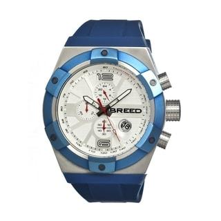 Breed Men's 'Titan Silver-Tone' Blue Silicone Analog Watch