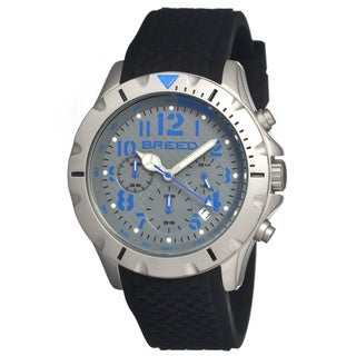 Breed Men's 'Sergeant Grey/ Blue' Black Silicone Analog Watch