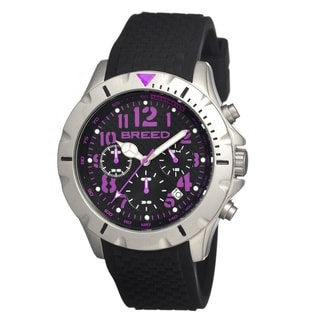 Breed Men's 'Sergeant Black/ Purple' Black Silicone Analog Watch
