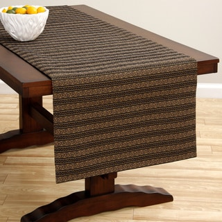 Black/ Camel Woven Stripe Italian Extra-wideTable Runner
