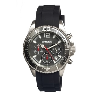 Breed Men's 'Genaro Grey' Black Silicone Analog Watch