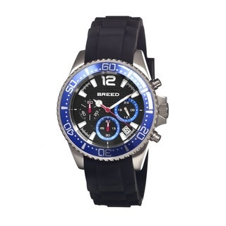 Breed Men's 'Genaro Black/ Blue' Black Silicone Analog Watch
