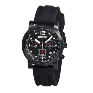 Breed Men's 'Manning' Black Silicone Stainless Steel Analog Watch