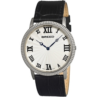 Breed Men's 'George Silver-Tone' Black Leather Analog Watch