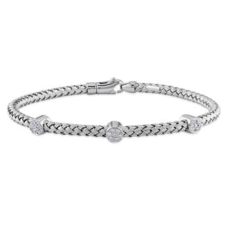 Miadora 14k White Gold 1/6ct TDW Diamond Bangle Bracelet (G-H, SI1-SI2)