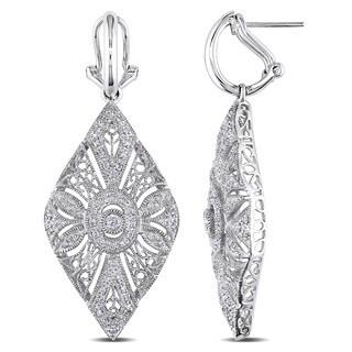 Miadora Signature Collection 14k White Gold 3/5ct TDW Vintage Diamond Drop Earrings (G-H, I1-I2)