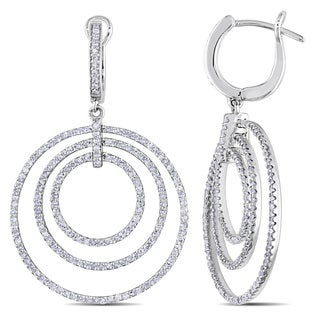 Miadora 14k White Gold 1 1/3ct TDW Diamond Circle Drop Earrings (H-I, I2-I3)