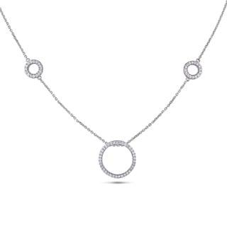 Miadora 14k White Gold 4/5ct TDW Diamond Circle Necklace (G-H, SI1-SI2)
