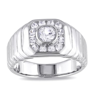 Miadora Sterling Silver Created White Sapphire Ring