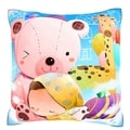 Child Sleeping on Teddy Bear 18-inch Velour Throw Pillow