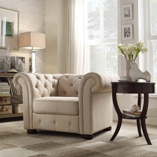 Tribecca Home Knightsbridge Beige Linen Tufted Scroll Arm Chesterfield Chair