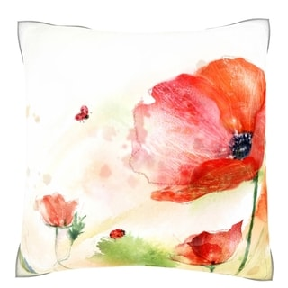 Red Tender Flower 18-inch Velour Throw Pillow