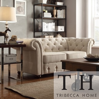 Tribecca Home Knightsbridge Beige Linen Tufted Scroll Arm Chesterfield Loveseat