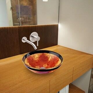 VIGO Auburn/ Mocha Fusion Glass Vessel Sink and Olus Brushed Nickel Wall Mount Faucet Set