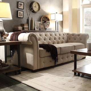 TRIBECCA HOME Knightsbridge Beige Linen Tufted Scroll Arm Chesterfield Sofa