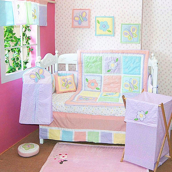 Butterfly and Flowers 6-piece Crib Bedding Set