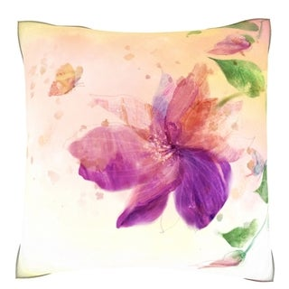 Purple Flower Lily Pillow 18-inch Velour Throw Pillow