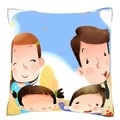 Portrait of Happy Family 18-inch Velour Throw Pillow