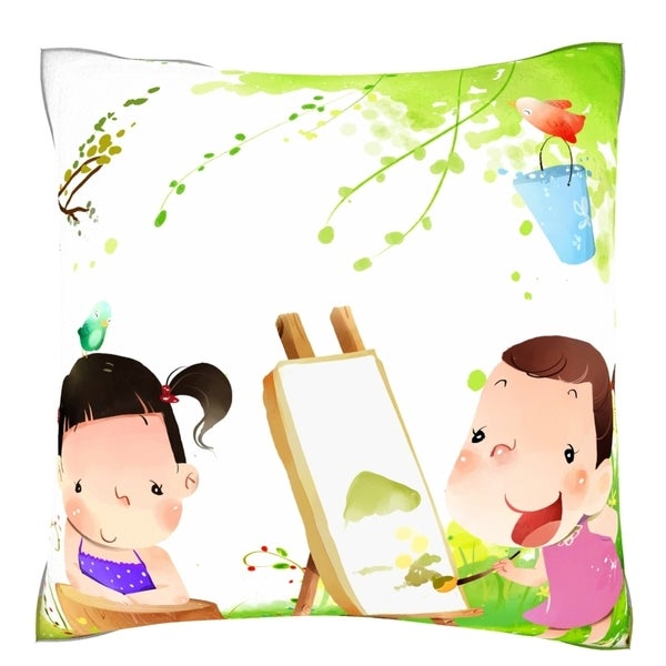 Girl Painting on Canvas of Another Girl 18-inch Velour Throw Pillow