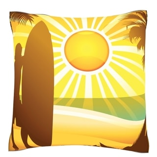 Silhouette of Surfer on Beach 18-inch Velour Throw Pillow
