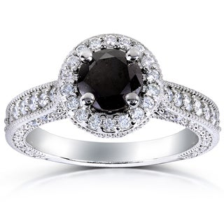 Annello 14k White Gold 1 4/5ct TDW Black and White Diamond Halo Ring (G-H, I1-I2)