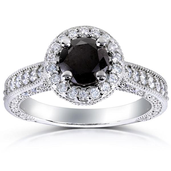 Annello 14k White Gold 1 4/5ct TDW Black and White Diamond Halo Ring (G-H, I1-I2)