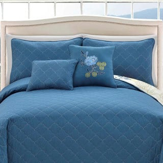 Preston Reversible Blue/Green Floral 5-piece Quilt Set