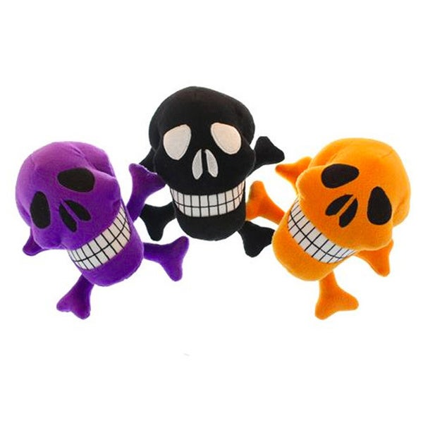 Multipet 7-inch Skull Plush Dog Toy (3 Pack)
