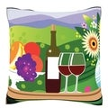 Fruit, Wine, and Cheese on Outdoors Table Velour Throw Pillow