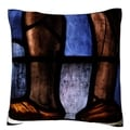 Decorative Stained Glass Velour Throw Pillow