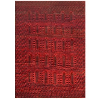 Afghan Hand-knotted Tribal Balouchi Navy/ Red Wool Rug (9'5 x 13'7)