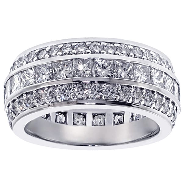 14k/18k Gold or Platinum 5ct TDW Princess and Round Cut Diamond in Channel and Pave Setting Eternity Band (F-G,SI1-SI2)
