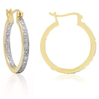 Finesque Yellow Gold Overlay Diamond Accent Hoop Earrings