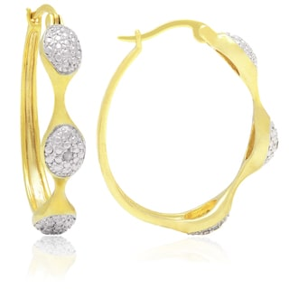 Finesque Yellow Gold Overlay Round Diamond Accent Hoop Earrings