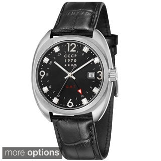 CCCP Men's 'Aviator Yak-15 Dress GMT' Leather Strap Watch