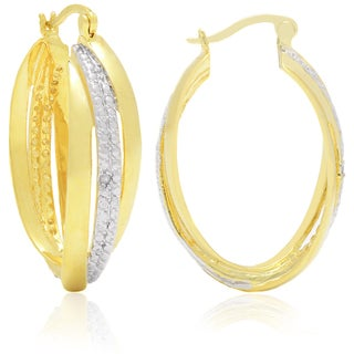 Finesque Yellow Gold Overlay Prong-set Diamond Accent Hoop Earrings
