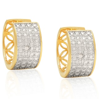Finesque Yellow 14k Gold Overlay Round-cut Diamond Accent Hoop Earrings