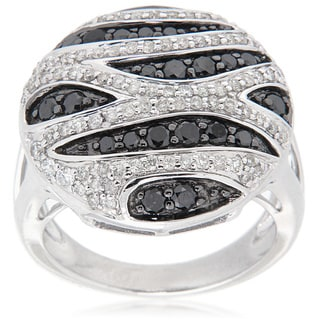 D'sire Sterling Silver 1 3/5ct TDW Black/ White Diamond Zebra Wave Fashion Ring