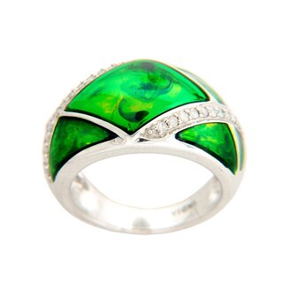 Sterling Silver 1/4ct TDW Italian Green Enamel Diamond Ring (I-J, I2-I3)