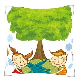 Children Loving the Globe 18-inch Square Velour Throw Pillow