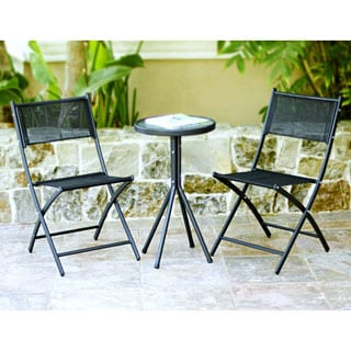 3-piece Black Glass Table Bistro Set