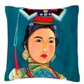 Portrait of Woman 18-inch Square Velour Throw Pillow