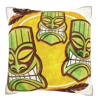 Polynesian Tiki Masks 18-inch Square Velour Throw Pillow