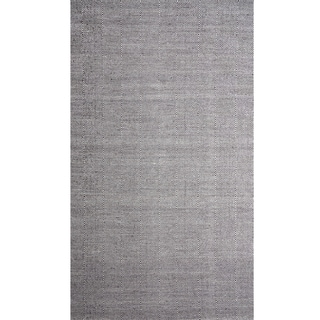 Handwoven Diamond Black and White Wool Rug (India)