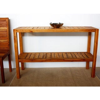 Farmed Oak Oil Teak Inlay Console Table (Thailand)