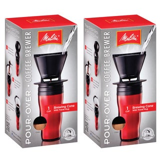 Melitta '64014' Ready Set Joe Red Pour-over Coffee Brewer Travel Mug (Set of 2)